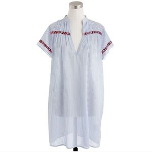 J.Crew Contrast Embroidered Striped Tunic/Cover-up